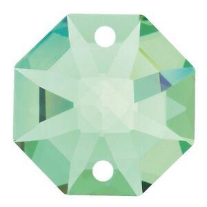 10 Pz Ottagono Da Mm.14 Cristallo Swarovski Light Peridot 2 Fori Ricambio Strass