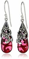 Amazon Collection Sterling Silver 925 Marcasite Red Glass Teardrop Earrings