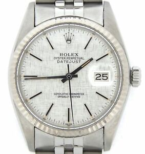 Mens-Rolex-Datejust-Stainless-Steel-18K-White-Gold-Watch-Silver-Linen-Dial-16014