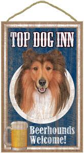 "Top Dog Inn Beerhounds Golden Retriever Bar Sign Plaque dog pet 10/"" x 16/""  Beer"