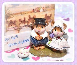 Wee-Forest-Folk-M-169-Hans-amp-Greta-Dutch-Girl-Boy-Mouse-RARE-Retired-WFF