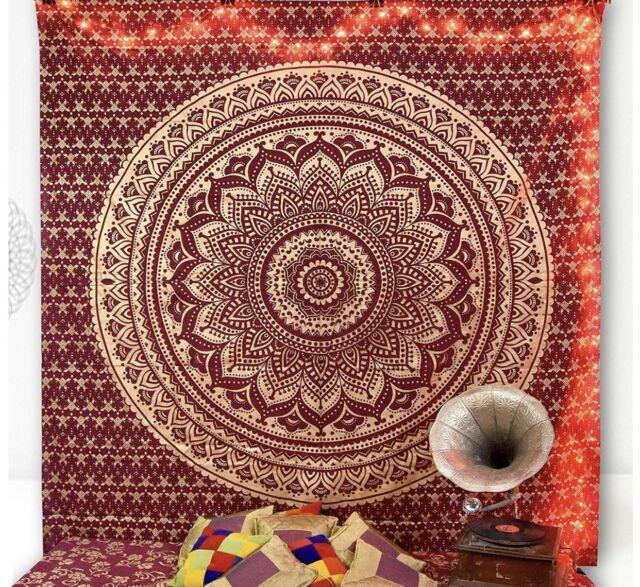 Grande Rojo Tresillo Tapiz India Mandala Algodón Colgante de Pared Cama Deco