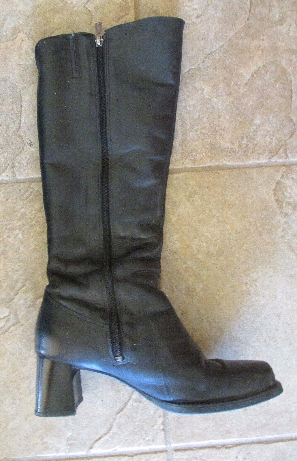 Janita Vintage Tall Knee High Black Black Black Leather Boots Size 40 Finland Zip Up Fashion ede13f