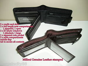 New-MILLENI-Mens-Bifold-Tab-Genuine-Leather-Wallet-note-ID-zip-coin-card-Holder