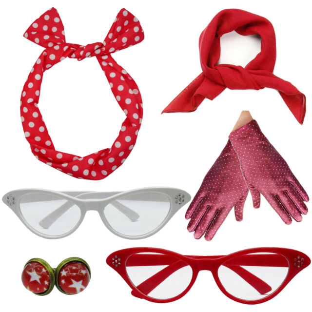 50s Costume Accessories Set Chiffon Scarf Cat Eye Glasses Bandana Tie Headband and Earrings