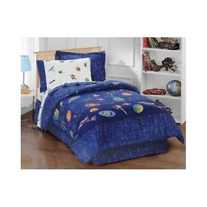 twin size comforter set boys girls outer space theme bedroom blue kids