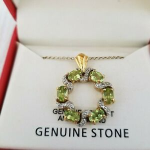 Macy-039-s-DBJ-18K-Gold-Over-Sterling-Silver-Peridot-amp-Diamond-Pendant-Necklace