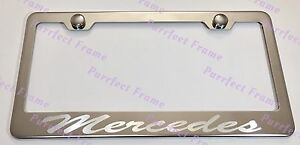 2X Mercedes Incursive Laser Stainless Steel License Plate Frame Rust Free W//Caps