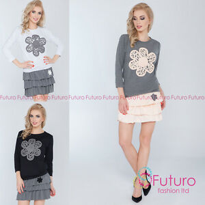 Womens-2-Pcs-Set-Top-Mini-Tiered-Skirt-Jumper-Blouse-Party-Size-8-12-FT2672
