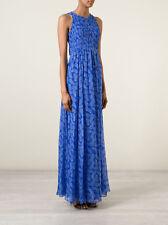 $698 DVF Diane von Furstenberg Silk Nirvana Maxi Dress in Blue Riveria Buds; 8