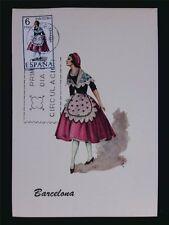 SPANIEN MK 1967 TRACHTEN BARCELONA COSTUMES MAXIMUMKARTE MAXIMUM CARD MC c5538