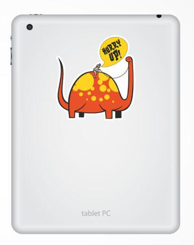 2 x Funny Dinosaur Joke Sticker Car Bike iPad Laptop Kindle Kids Fun Decal #4128
