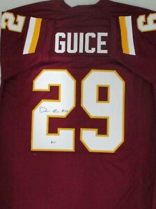 sports shoes 0cbf1 8fb68 Details about Redskins DERRIUS GUICE #29 Signed Custom Replica Washington  Jersey AUTO Beckett