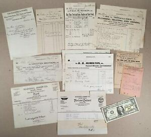 Kerhonkson-NY-1912-14-Lot-of-14-Local-Merchants-Business-BILLHEADS-AND-INVOICES