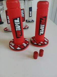 Trials-Motocross-motorcycle-Pro-Taper-red-Grips-Withe-Free-Dust-Caps-red