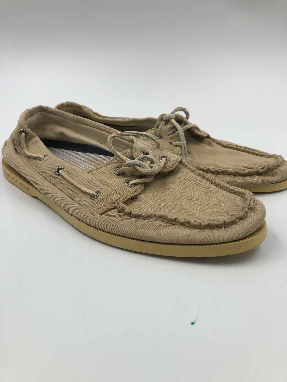 SPERRY TOP SIDER MEN'S TAN CANVAS BOAT CASUAL LACE-UP SHOES SIZE 10.5 MEDIUM