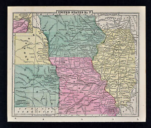 1863 Cornell Map - Illinois Iowa Missouri Kansas St. Louis Chicago Des Moines US
