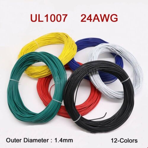 24AWG Flaxible Stranded Electronic Wire O.D 1.4mm UL1007 PVC Cable 12-Colors