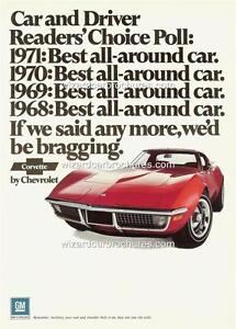 1971 CHEVROLET CORVETTE A3 POSTER AD SALES BROCHURE MINT ADVERTISEMENT ADVERT