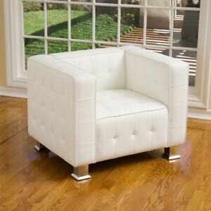 Awe Inspiring Details About Decco Modern White Leather Club Chair Alphanode Cool Chair Designs And Ideas Alphanodeonline