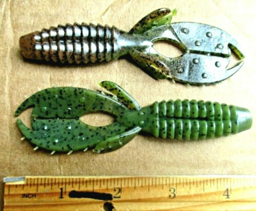 """Details about  /9ct WATERMELON-PUMPKINSEED 4.25/"""" SWEET BEAVERS Bass Fishing Lures Flipping Baits"""