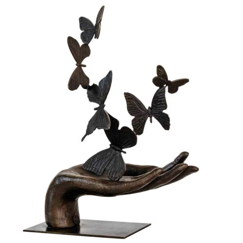Bronzeskulptur Hand Schmetterling im Antik-Stil Bronze Figur 36cm