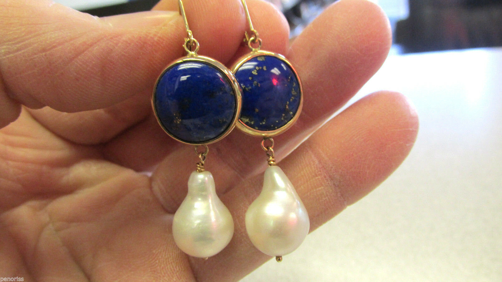 One of a Kind Large Pear Shape Pearls & Lapis Lbluei Earrings 14k  Make Offer