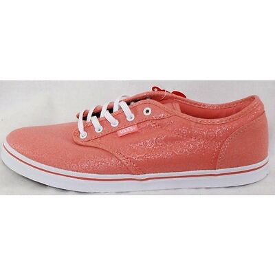 NEW Womens VANS Atwood Low Coral White Henna Print Canvas Sneakers Shoes