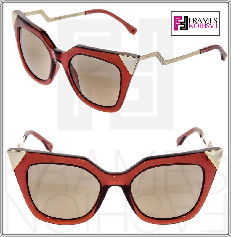 FENDI IRIDIA FF0060S Red Translucent Gold Mirrored Thunder Sunglasses Optyl 0060