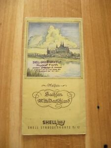 alte Shell Straßenkarte Nr.12 Sachsen Mitteldeutschland um 1935