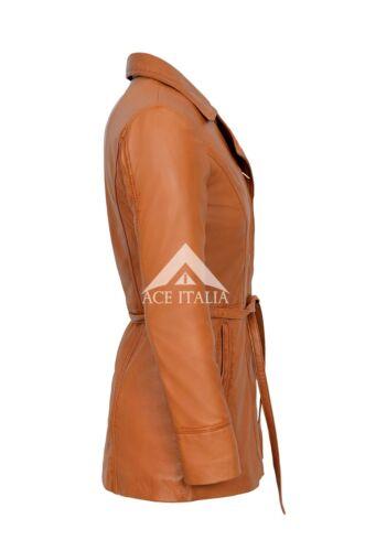Stivali in Pelle Giacca Tan Sarina TRINCEA Classic Mid-lunghezza 100/% vera napa cappotto