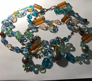 Vintage-Murano-Art-Glass-3-Row-Necklace