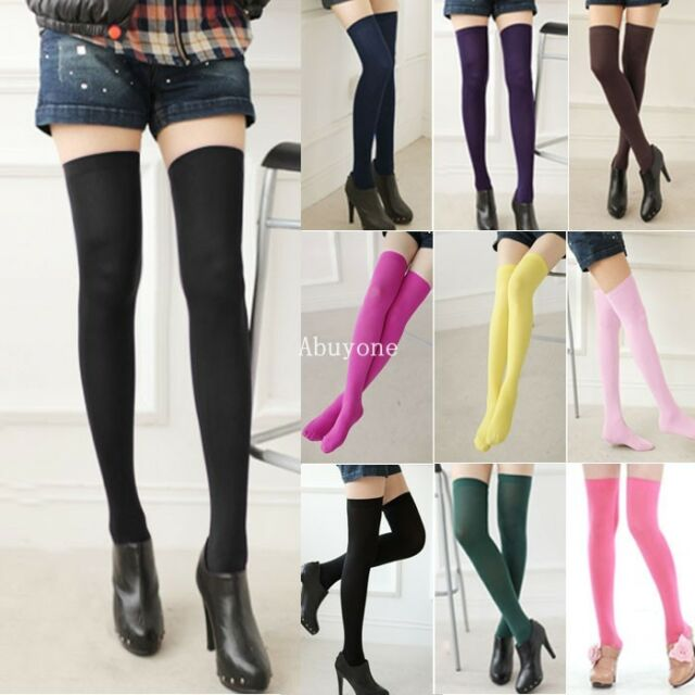 Women's Lady Girl Long Socks Thigh High Over Knee Stockings 10 Colors