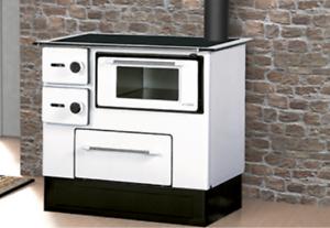 Dettagli su Stufa a Legna Cucina con Forno Acciaio 5,0-6,3 KW Piastra  Portalegna Bianco