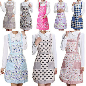 Women's Princess Apron Bib Cooking Chef Floral Dotted Pocket Kitchen Popular