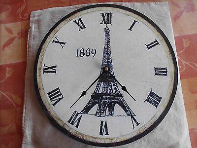 Clever Wanduhr 33 Cm Durchmesser Motiv Paris Eifelturm Grosse Zahlen Mit Zeiger