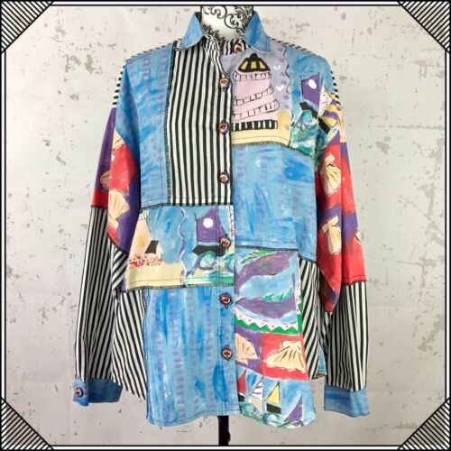 Vintage Silkscapes Hand Painted Womens Button Shir