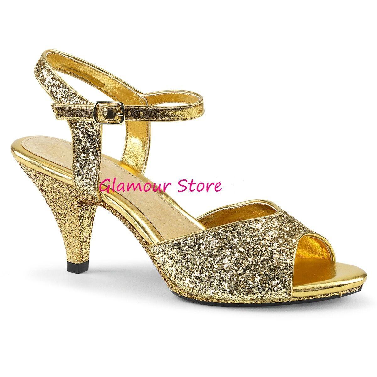 Sexiga Glitter Sandals häl 7,5 från 35 till 46 guld Strap skor Glamour