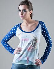 FORNARINA graphic t-shirt maglietta maglia donna con stampa e stelle M BNWT