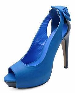 LADIES SLIP-ON BLUE PEEP-TOE PLATFORM