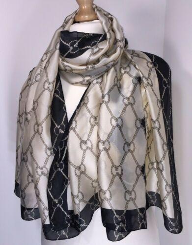 Pañuelo seda inspirado diseñador Cadenas Cuerda Pashmina más suave de gran tamaño largo nuevo
