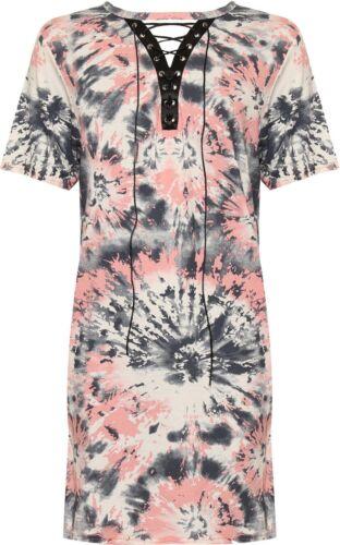 New Ladies Short Sleeve Floral Print Tie Up Choker Eyelet Party Dress Women Tops