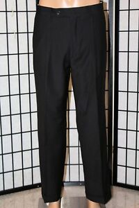 GEOFFREY-BEENE-Men-039-s-33-x-32-Black-Pin-Striped-Pleated-Cuffed-Dress-Pants-EUC