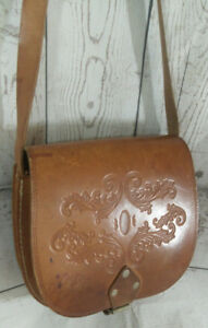 Vintage-Rich-Tan-Tooled-Leather-Satchel-Saddle-Shoulder-Bag-Boho