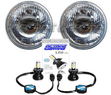 "7"" Stock Style H4 Glass Headlight LED 4000Lm 20/40w Light Bulb Headlamp Pair"