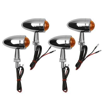 4 Chrome Bullet LED Turn Signal For Harley Sportster Dyna Softail Bobber Chopper