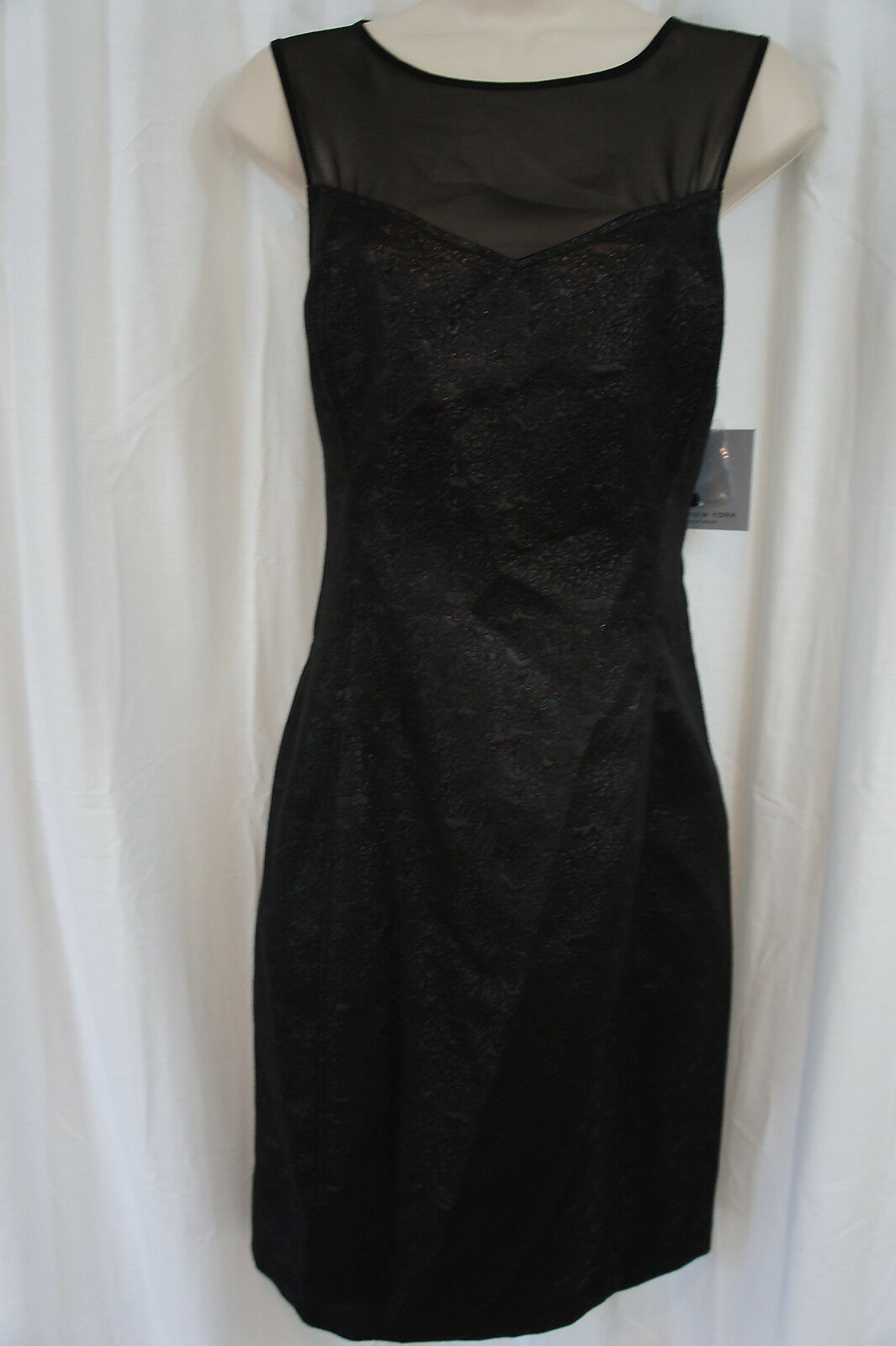 Marc New York Dress Sz 8 schwarz Sheer Cocktail Fete Soiree petite robe schwarze