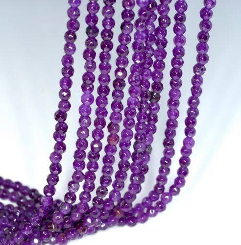 4MM  AGATE GEMSTONE PURPLE FACETED ROUND LOOSE BEADS 15/""