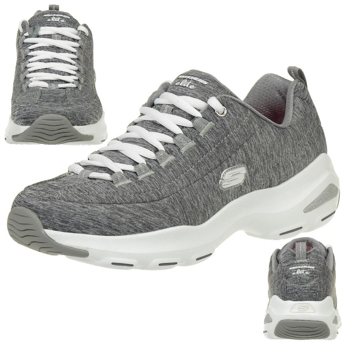 Skechers D'Lite Ultra-Meditative Ladies shoes Air Cooled Memory Foam Gry