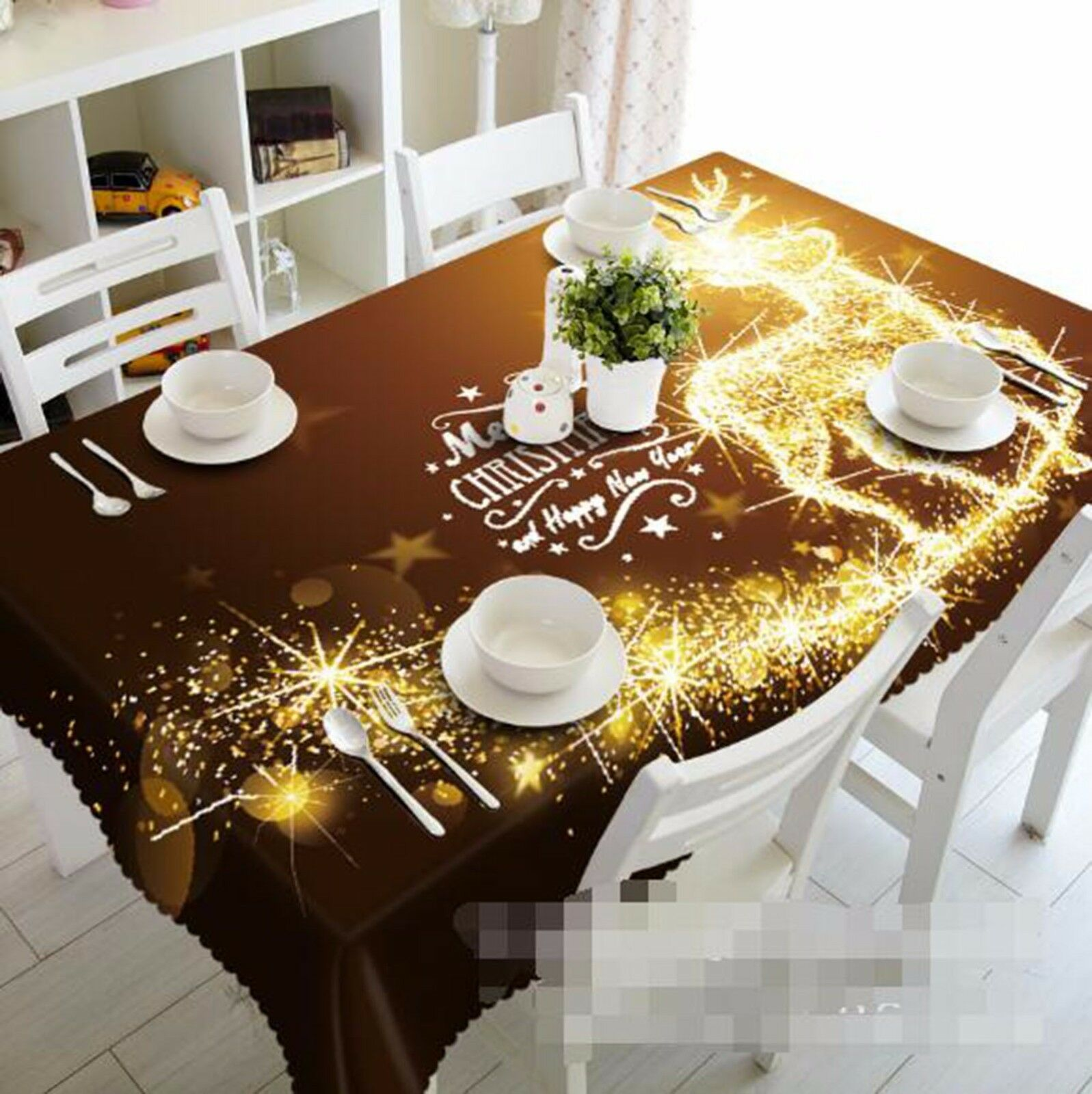 3D Cerf Light Nappe Table Cover Cloth fête d'anniversaire AJ papier peint Royaume-Uni Citron